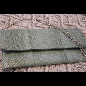 Teal and silver faux reptile skin CLUTCH